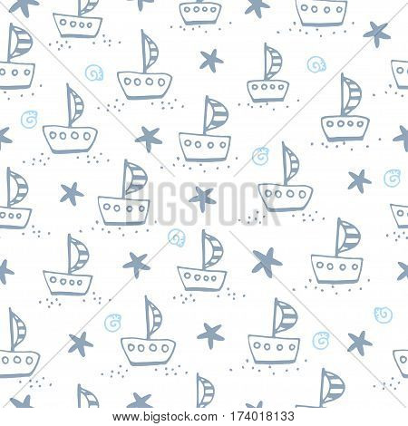Cute pattern with sailing boat and starfish on a white background in vector.