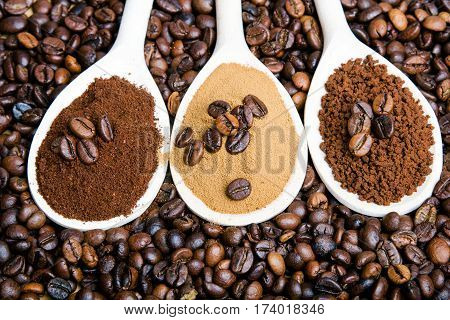 types of coffee: grounds instant powder coffee beans