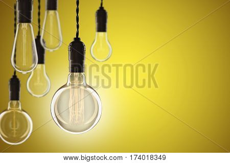 Idea And Leadership Concept Vintage Incandescent Edison Bulbs On