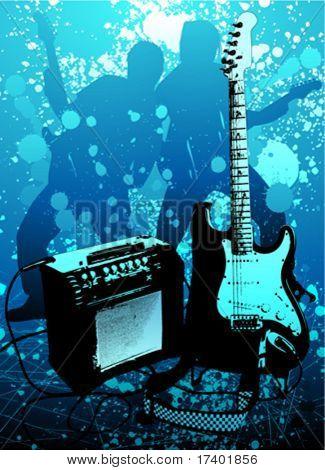 grunge guitar and ampli vector