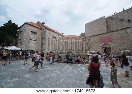 DUBROVNIK, CROATIA - circa july 2016: Old city streets in Dubrovnik, the UNESCO World Heritage site.