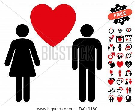 Love Persons icon with bonus marriage pictograph collection. Vector illustration style is flat iconic intensive red and black symbols on white background.
