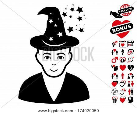 Magic Master pictograph with bonus love clip art. Vector illustration style is flat iconic intensive red and black symbols on white background.