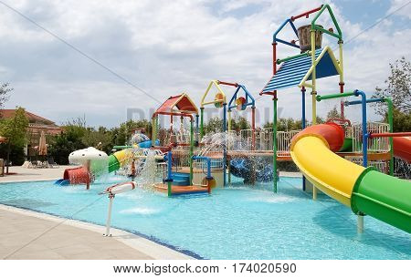 Side, Turkey - June 2, 2015: View on childrens aqua park in high class hotel Ali Bey Resort, Turkey.