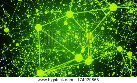 Abstract Connected Dots On Bright Green Background. Technology Concept