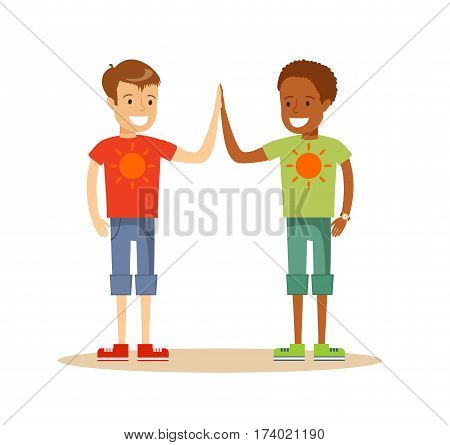 Happy classmates giving high-five and smiling , over white background. Cartoon character illustration . Stock vector illustration for poster, greeting card, website, ad.