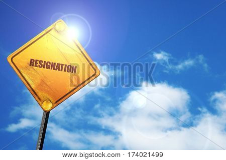 resignation, 3D rendering, traffic sign