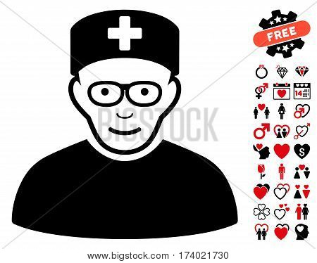 Medical Specialist pictograph with bonus love design elements. Vector illustration style is flat iconic intensive red and black symbols on white background.