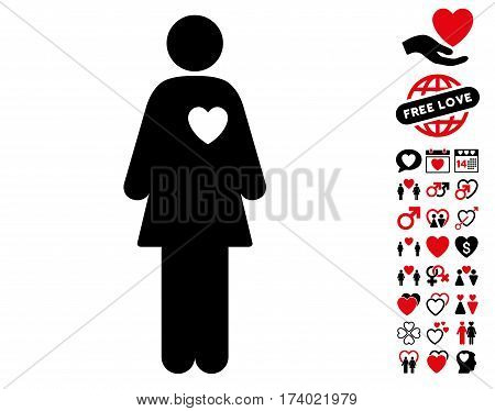 Mistress pictograph with bonus decorative pictograms. Vector illustration style is flat iconic intensive red and black symbols on white background.