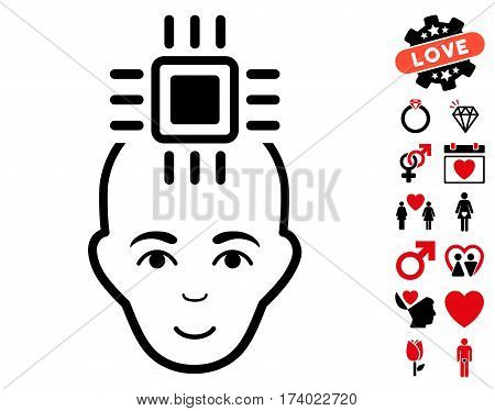 Neural Computer Interface icon with bonus decorative symbols. Vector illustration style is flat iconic intensive red and black symbols on white background.