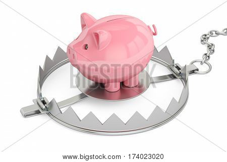 Credit trap with piggy bank 3D rendering isolated on white background