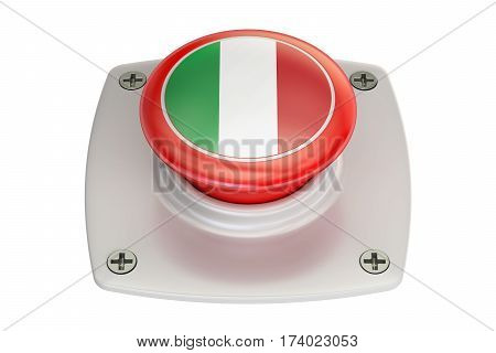 Italy flag push button 3D rendering on white