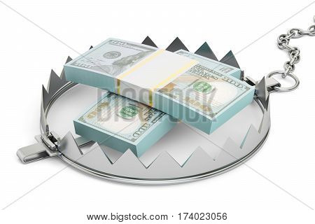 money trap with packs of dollars 3D rendering isolated on white background