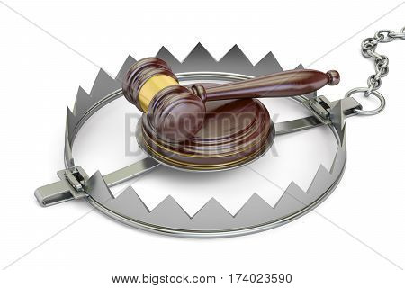 Trap with wooden gavel 3D rendering isolated on white background