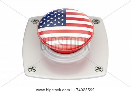USA flag push button 3D rendering on white