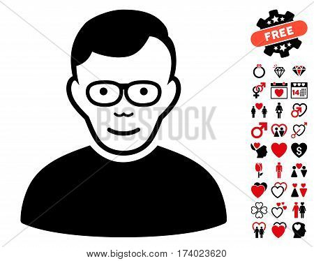 Pensioner pictograph with bonus lovely icon set. Vector illustration style is flat iconic intensive red and black symbols on white background.