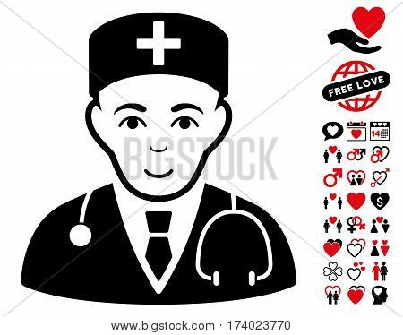 Physician pictograph with bonus passion icon set. Vector illustration style is flat iconic intensive red and black symbols on white background.