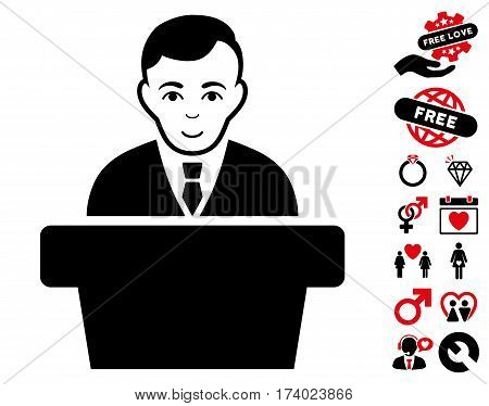 Politician icon with bonus decoration design elements. Vector illustration style is flat iconic intensive red and black symbols on white background.