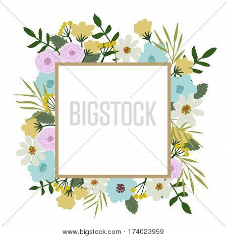 Floral Frame. Flower Bouquet Vintage Cover. Flourish Card With With Place For Your Text