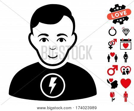 Power Man pictograph with bonus decoration pictograph collection. Vector illustration style is flat iconic intensive red and black symbols on white background.
