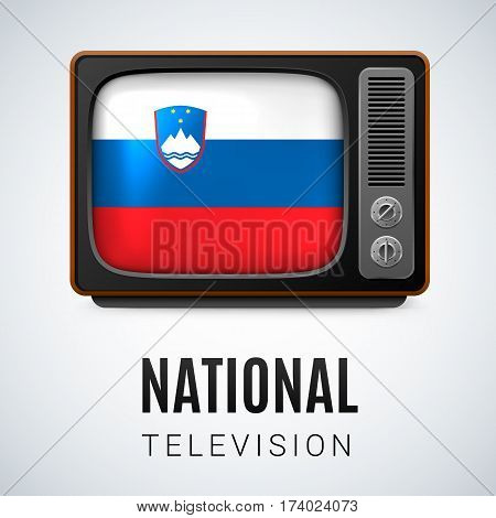 Vintage TV and Flag of Slovenia as Symbol National Television. Tele Receiver with Slovene flag