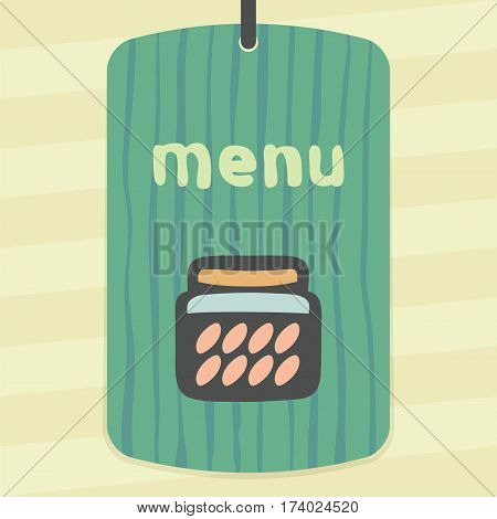 Vector outline glass pot with jam, preserve, confiture, marmalade, conserve icon on hand drawn striped label. Elements for mobile concepts and apps. Modern infographic logo and pictogram.