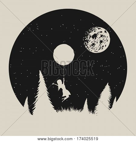 Vector typography label with girl silhouette, who fly to moon. Strange night in forest.Vintage illustration