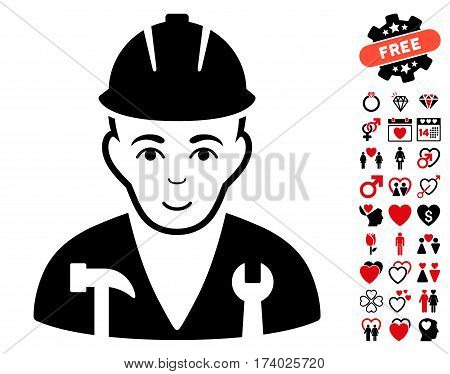 Serviceman icon with bonus romantic pictograms. Vector illustration style is flat iconic intensive red and black symbols on white background.