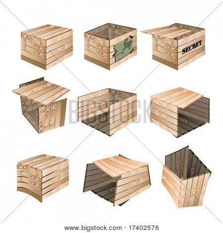 vector wooden box