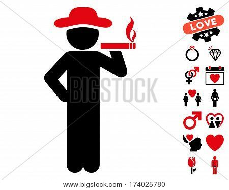 Smoking Gentleman icon with bonus valentine icon set. Vector illustration style is flat iconic intensive red and black symbols on white background.