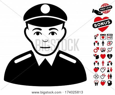 Soldier pictograph with bonus lovely pictures. Vector illustration style is flat iconic intensive red and black symbols on white background.