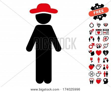 Standing Gentleman icon with bonus amour pictures. Vector illustration style is flat iconic intensive red and black symbols on white background.