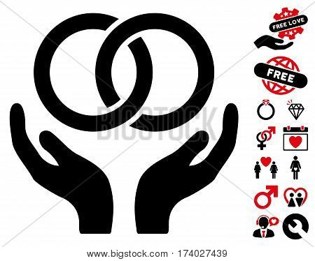 Wedding Rings Care Hands icon with bonus passion design elements. Vector illustration style is flat iconic intensive red and black symbols on white background.