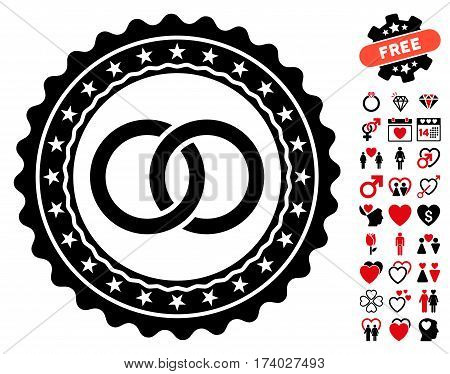Wedding Rings Stamp pictograph with bonus dating pictograms. Vector illustration style is flat iconic intensive red and black symbols on white background.