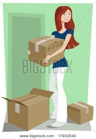 девушка с коробки