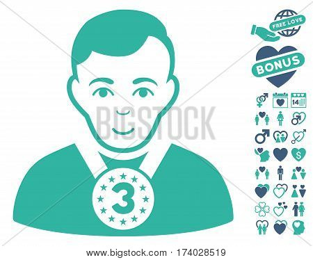 3rd Prizer Sportsman icon with bonus romantic design elements. Vector illustration style is flat iconic cobalt and cyan symbols on white background.