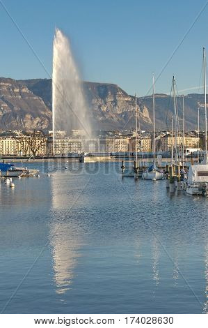 The famous water jet fountain (Jet d'eau) in Geneva, Switzerland. The plume of water is 140m tall. Built in 1886.