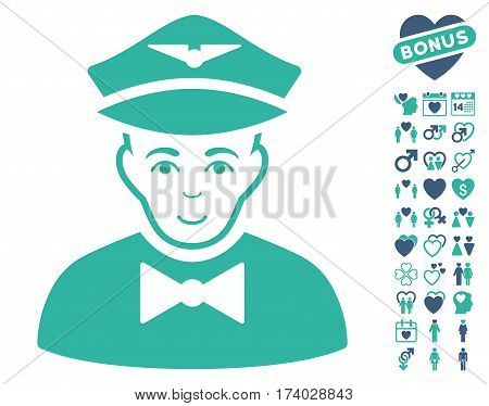 Airline Steward icon with bonus passion symbols. Vector illustration style is flat iconic cobalt and cyan symbols on white background.