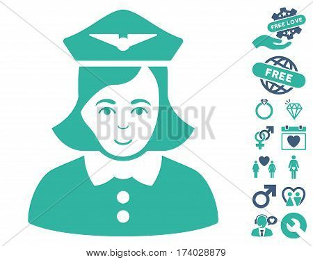 Airline Stewardess icon with bonus decorative pictograms. Vector illustration style is flat iconic cobalt and cyan symbols on white background.