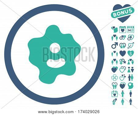 Ameba pictograph with bonus decorative clip art. Vector illustration style is flat iconic cobalt and cyan symbols on white background.
