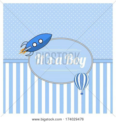it is a boy, Baby shower card. Vector illustration.