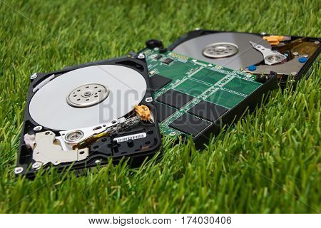new SSD and a few old HDD to the green grass