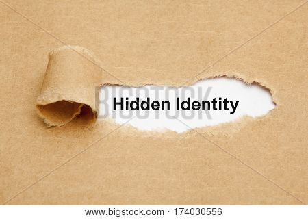 Text Hidden Identity appearing behind ripped brown paper. poster