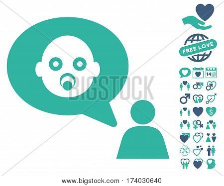Baby Thinking Person pictograph with bonus decoration pictograph collection. Vector illustration style is flat iconic cobalt and cyan symbols on white background.