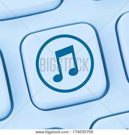 Listening Download Downloading Streaming Music Internet Online Blue Computer Web