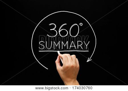 Hand sketching 360 degrees Summary concept with white chalk on blackboard.