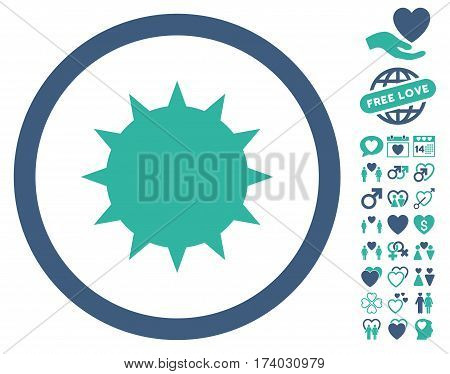 Bacterium pictograph with bonus decoration pictures. Vector illustration style is flat iconic cobalt and cyan symbols on white background.