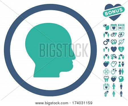 Bald Head icon with bonus dating clip art. Vector illustration style is flat iconic cobalt and cyan symbols on white background.
