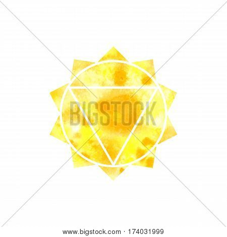 Manipura chakra. Sacred Geometry. One of the energy centers in the human body. The object for design intended for yoga. Vector illustration.