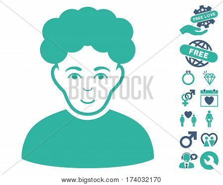 Brunet Man pictograph with bonus valentine design elements. Vector illustration style is flat iconic cobalt and cyan symbols on white background.